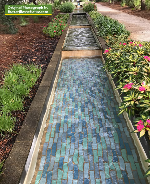 water feature lined with new guinea impatiens at the cerulean park - Florida Butterfly Garden